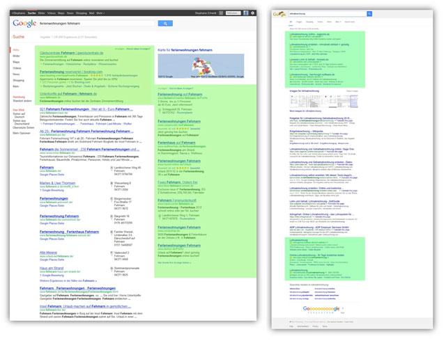 Google Suchergebnisseite alt und neu