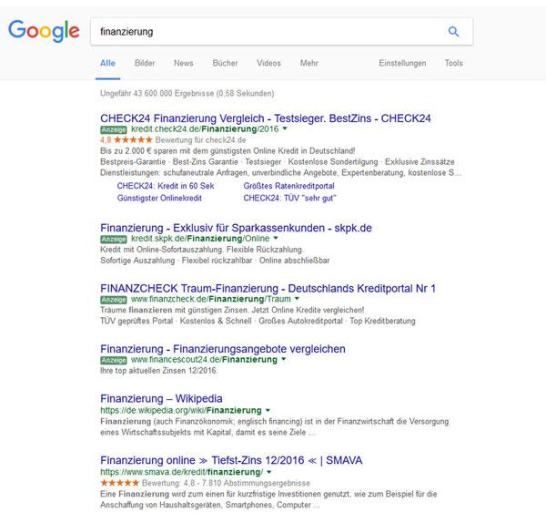 """AdWords Anzeigen zum Thema """"Finanzierung"""""""
