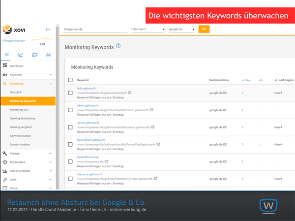 Relaunch ohne Absturz bei Google & Co. - mit XOVI die wichtigsten Keywords überwachen - vor, während und nach dem Relaunch